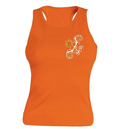 """T-shirt Femme 100% Coton - """"Ptite fleur jaune"""" - Sans Manches Orange"""
