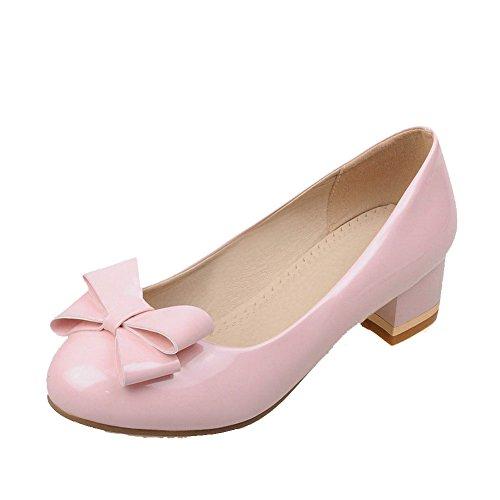 AgooLar Damen Niedriger Absatz Rein Ziehen Auf Rund Zehe Pumps Schuhe, Pink, 40