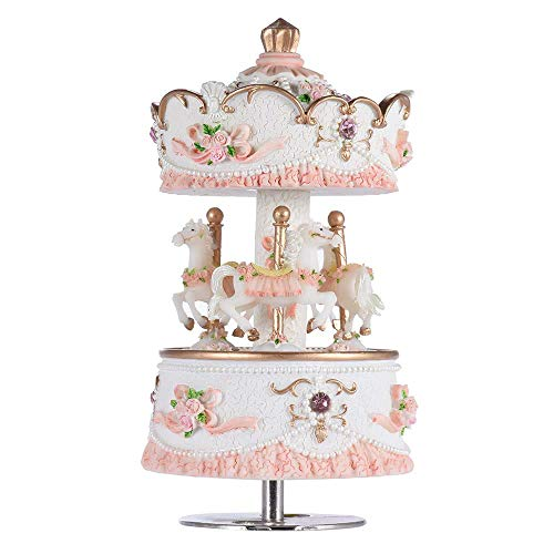 Jamisonme Carousel Music Box Laxury Windup 3-Horse Carousel Music Box Creative Artware/Gift Melody Castle in The Sky Pink/Purple/Blue/Gold Shade for Option Carousel (Rose)