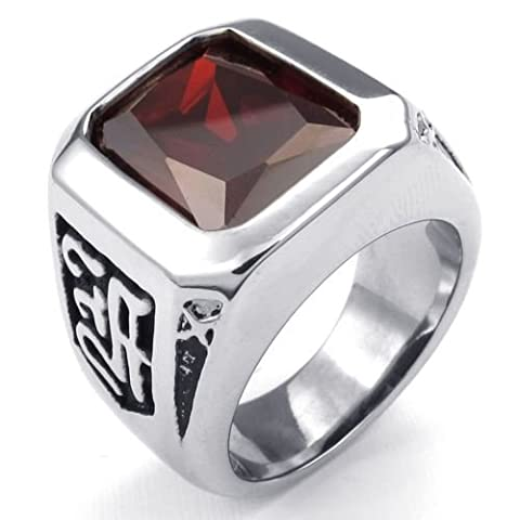 Aooaz Men's Ring Stainless Steel Ring RED Crystal CZ Ruby Silver Vintage Retro Gothic Punk