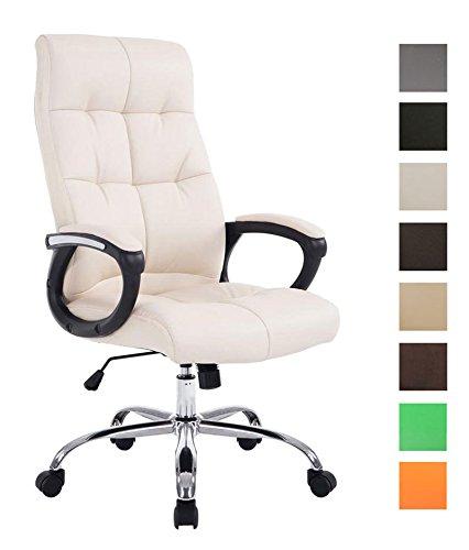 CLP XXL Bürostuhl Poseidon mit Kunstlederbezug | Höhenverstellbarer Drehstuhl mit Laufrollen | Chefsessel mit max.Tragkraft bis zu 160 kg Creme