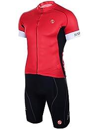 JUSFITSU Ropa Ciclismo Maillot/Jersey de manga corta culotte corto con badana de gel Equipación en color rojo y negro