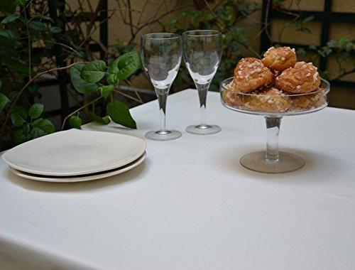 Fleur de soleil Nappe Rectangulaire anti-tache imperméable 160x240cm Uni Blanc coton enduit - sans solvant - sans phtalate - 100% fabrication française