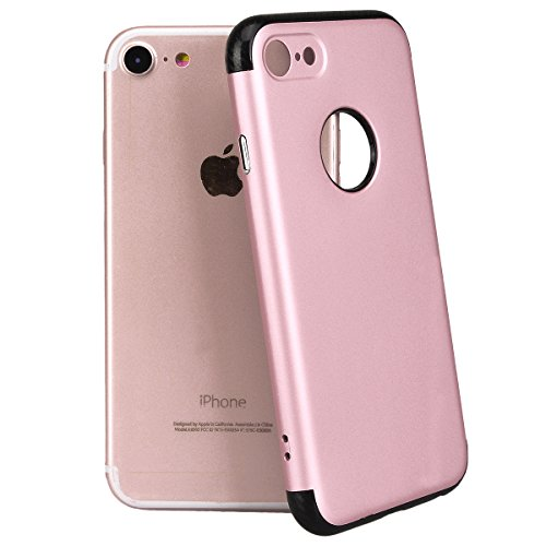 Yokata Combo 2 in 1 Cover per iPhone 7 Plus Sottile Custodia Case gel Silicone Durevole PC Duro Backcover Protettiva Caso Bumper Premium Protezione Shell Per iPhone 7 Plus + Penna - Argento Oro rosa