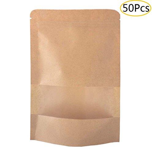 SumDirect 50 Stk Kleine Braune Papier Beutel Mit Sichtfenster, Papier Tütchen kraftpapier mit Boden für die verpackung von kaffee ,tee lebensmittel und snack mehr (9x14cm)