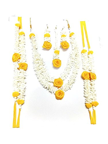 Sanji's Enterprises Yellow and White Plastic Flower Bridal Jewellery for Women - Set of 6