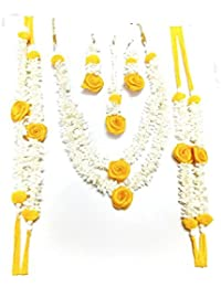 Flower Jewellery (Yellow & White), 6 Items Set For Women & Girls (for Mehandi/HALDI/Wedding/Bridal) (Style 2)