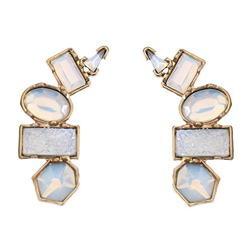 (Z&HA Frauen 925 Silber Ohr Nadel Ohrringe Retro Kreative Geometrie Tropfen Baumelt Ohr Nagel Mode Kostüm Schmuck Für Frauen Jugendliche,Transparent)