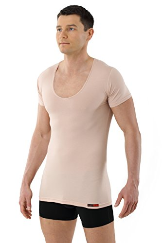3-knopf-v-neck (ALBERT KREUZ unsichtbares Unterhemd Deep-V-Neck extra tiefer V-Ausschnitt Business-Unterhemd kurzarm Stretch-Baumwolle Hautfarbe (S))