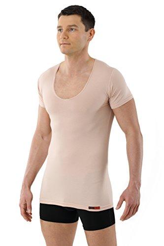 ALBERT KREUZ Deep-V-Unterhemd unsichtbar Business Herrenunterhemd aus Stretch-Baumwolle mit extra tiefem V-Ausschnitt Kurzarm Hautfarbe Nude 7/XL (3-knopf-anzug 2-knopf Oder)