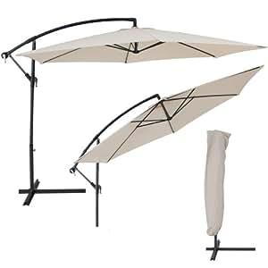 TecTake Ombrellono Decentrato Giardino Parasole Alluminio 3,5 M con protezione UV + coperchio de protezione, colore: Beige