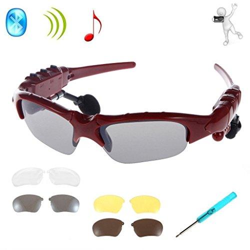 Drahtlose Kopfhörer Sonnenbrille,KINGCOO Sport Bluetooth Musik Headset Kopfhörer für iPhone 7/7 Plus Samsung Bluetooth-Geräte + Gratis Austauschbare 3 Paar Objektiv (Rot)