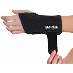 MUELLER Fitted Wrist Brace for Left Hand, Small/Medium, Black