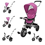 HomeZone® Kids 4 In 1 Pink Trike Push Chair Childrens Guided Tricycle Removable