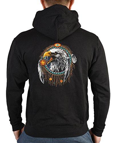 Zip Kapuzen Pullover Jacke Adler Indianer Motiv Aufdruck : Indian Eagle Farbe: schwarz Größe: M (Pullover Adler)