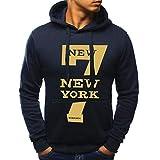Styledress Herren Kapuzenpullover Sweatjacke Pullover Bedrucktes Hoodie Sweatshirt Men's Langarm Sweatshirt Hooded Pullover Hoodie mit Kapuze T-Shirt Herbst Winter (Marine, M)