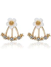OUMOSI Jewelry Crystal Front Back Double Sided Stud Earrings Fashion Ear Jacket Piercing Earing