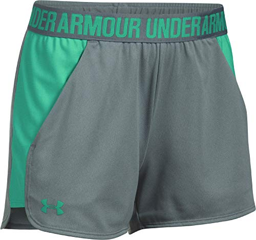 Under Armour Damen Play Up Shorts 2 Kurze Hose, grau(True Gray Heather / Absinthe Green / Absinthe Green (028)), L - Sportliche Warm-up-hose