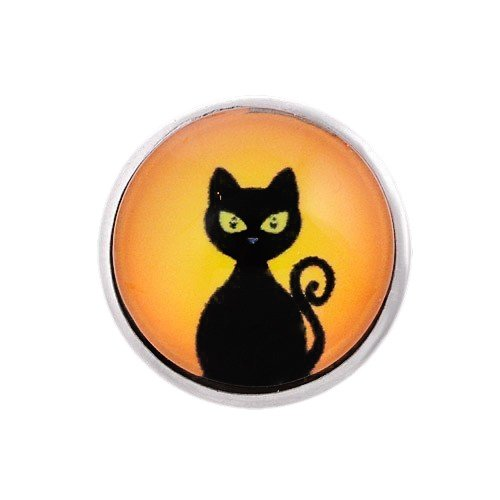 Andante CHUNK Click-Button Druckknopf (Black Cat - Schwarze Katze) für Chunk-Armbänder, Chunk-Ringe, Chunk-Schlüsselanhänger und andere ()