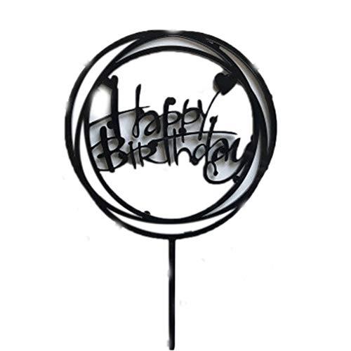 Kineca Acryl-Babyparty-Geburtstags-Party Runde Liebe-Kuchen-Deckel-Kuchen-Dessert Alles Gute zum Geburtstag Dekoration Black (Party Dekorationen Black Alle)