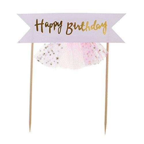 SM SunniMix Tüll Kuchengirlande Kuchendekoration Tortenaufsatz Tortenstecker mit Happy Birthday Zeichen - Rosa -