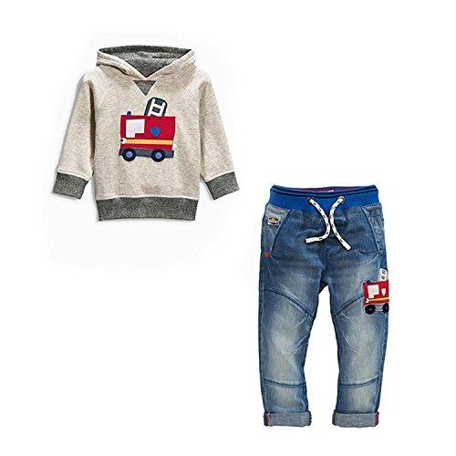 IHRKleid® Zwei Stück Classic Kinder Kapuzen-Sweatshirt + Jeans 2017 Frühling neu Kids Hooded Sweat (104, 3 Jahre, Grau)