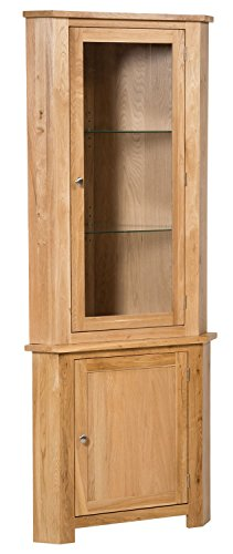 Best Price New Solid Oak Corner Display Unit Cupboard Dresser Cabinet with Glass door Glass adjustable shelves Top Review