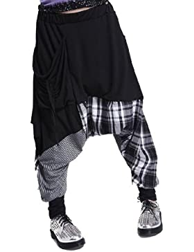 ellazhu Mujer Locker hippie Strang rejilla de pantalón gy206Onesize