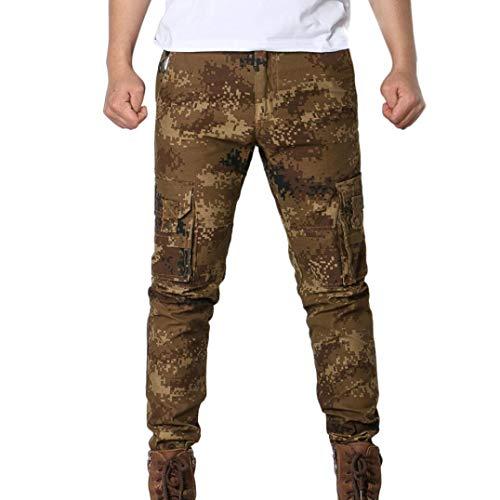 UFACE Fashion Herren Persönlichkeit Casual Camouflage Multi Pocket Workwear Hosen Multi-Tasche Kampf Reißverschluss Cargo Taille Arbeit Casual Hosen(Braun,29)