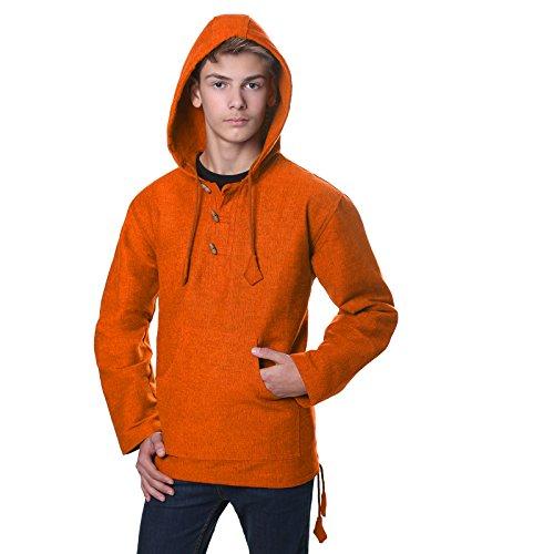 Kunst und Magie Überzieher Hemd Poncho Surfer Baja Nepal aus dickem Baumwollstoff orangetöne