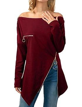 LHWY Camisas de Hombro Frío con La Cremallera, Camiseta Asimétrica del Cuello de Las Mujeres Blusa con Hombros...
