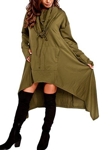Bai You Mei Damen Casual Langarm Unregelmäßige Pullover mit Kapuzen Sweatshirt Tunika Bluse Oversize Minikleid Grün 54-56