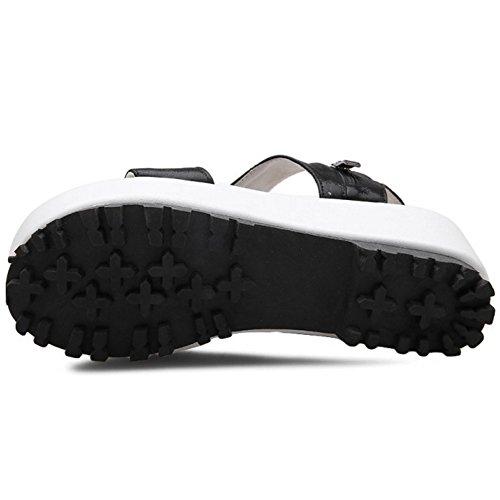 TAOFFEN Femmes Mode Bout Ouvert Sandales Compensees Plateforme Slingback Ete Chaussures 786 Noir