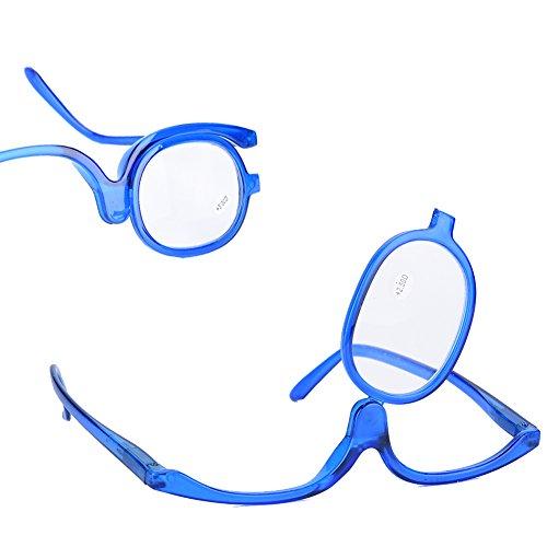 Kosmetikspiegel,Vergrößern Augen Make-up Brille Einzellinse Rotierende Brille Frauen Make-up Essential Tool(300-Blau)