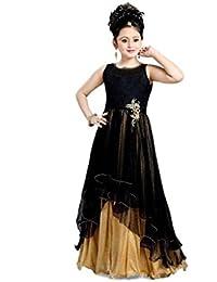MEGHALYA Women's Soft net Dress Material(CND_Baby_Bindiya_Black_0202_Black_12-14 Years)