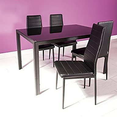 Houston Dining Set - Modern Black Glass Table and 4 Black Faux Leather Chairs
