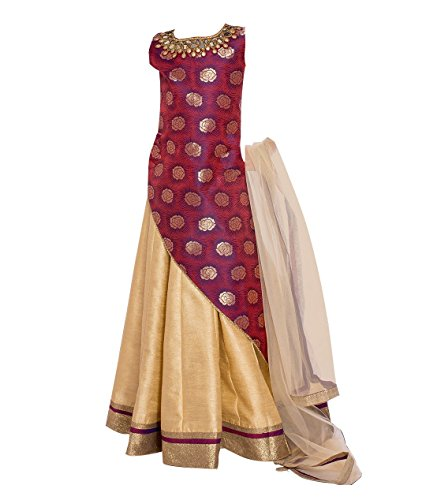 White Button Girl's Silk Multicolor Digital Printed Ready Made Wedding Wear Lehenga...