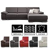 CAVADORE Ecksofa Corianne mit Schlaffunktion /  Couch L-Form im modernen Design / Inkl. beidseitiger Armteilverstellung, Longchair rechts und Bett / 282 x 80 x 162  / Kunstleder grau