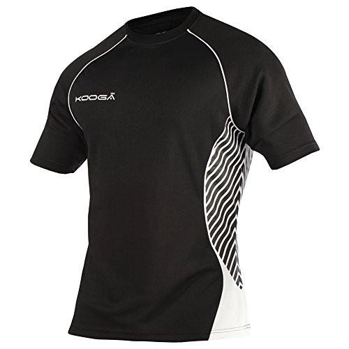 KooGa Herren Try Panel Match Rugby-Shirt / T-Shirt Schwarz/Gold