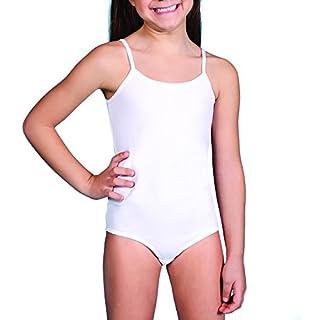 NMLD Kinder - Mädchen Body- Unterhemd-Ballettanzug-Ballettbody-Baumwolle- (N.Lingerie-461) (6-8 Jahre, Weiss)
