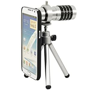 Telephoto Lens Kit Phone Camera Zoom 12X + Aluminum Tripod + Case Cover Pouch for Samsung Galaxy Note2 II N7100 DC273