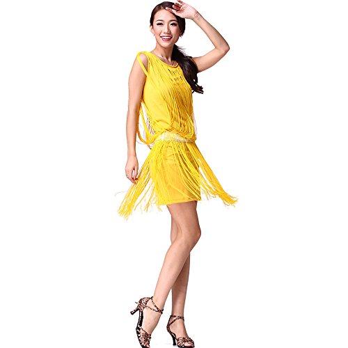 FaithYoo Damen Schößchen Kleid One size Gelb