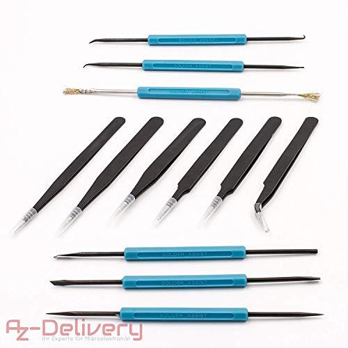 AZDelivery ⭐⭐⭐⭐⭐ 6 x Lötbesteck Lötwerkzeug + 6 x antistatische Pinzetten ESD 10-15 für Lötarbeiten