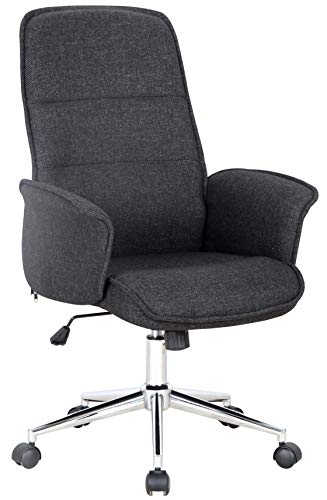 SixBros. Bürostuhl Drehstuhl Schreibtischstuhl Stoff Schwarz 0704H/8392