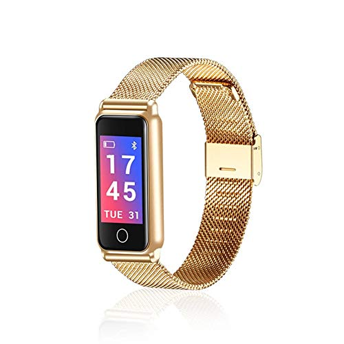 Gold-farb-bildschirm (WETERS Fitness Tracker Activity Tracker Uhr Pulsmesser Wasserdicht Metall Bluetooth Farb-Bildschirm Blutdruckmessgerät Sport Armband,Gold)