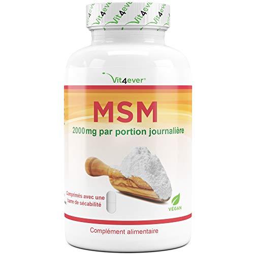 MSM - 400 Comprimés - 2000 mg par portion journalière - Pureté 99,9% - Soufre Organique - testé en laboratoire - Méthylsulfonylméthane - haute dose - Articulations + Peau + Cheveux - Vegan