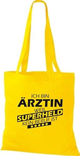 Shirtstown Stoffbeutel Ich bin Ärztin, weil Superheld kein Beruf ist gelb