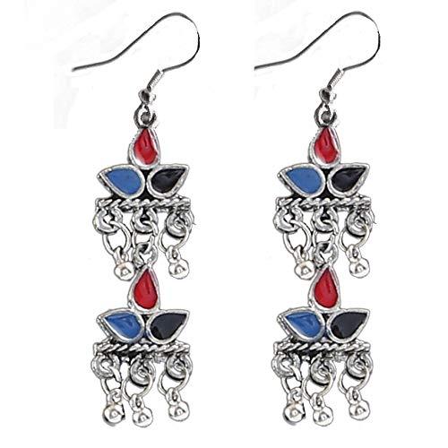 Aradhya Oxodised Silver Strand Necklace Set for Women