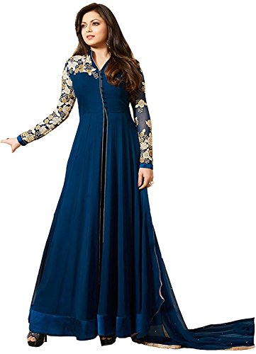 Salwar Style Present Hot Blue Georgette Middle Cut Semi Stitched Anarkali Dress Material(LTblue1_Blue_Hot)