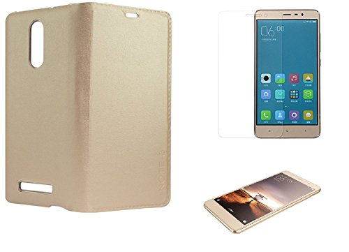 REDMI NOTE 3 (COMBO OFFER ) Tempered Glass + Durable Leather Flip Cover - GOLD